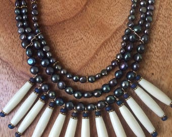 Ravens Wing Button Pearl 3 Strand Choker with Long Bone Bead accents and 14KGF Toggle Clasp