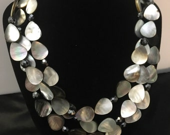 3 Strands Gray  Mother of Pearl and Hematite Necklace