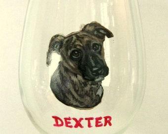 Pitbull Puppy, Painted Wine Glass, Custom Bar Decor, Pet Portrait Painting, Pet Loss Memorial, Glass Painting, Barware, Custom Wine Glass