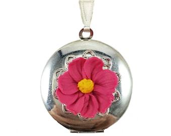 Cosmos Flower Locket Necklace -  Cosmos Jewelry, Pink Flower Jewelry, Pink Cosmos