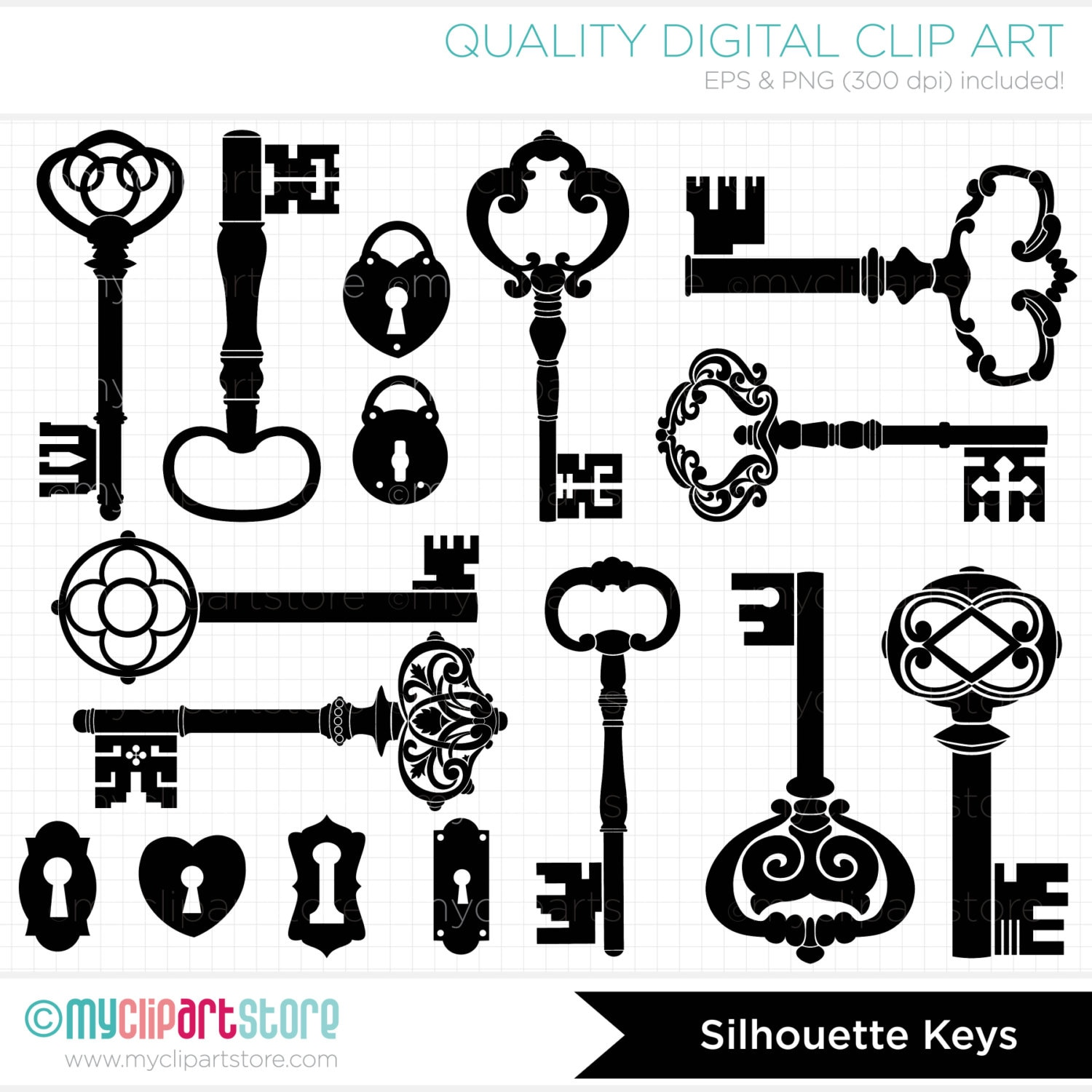 Digital Stamps Skeleton Keys Black Silhouettes