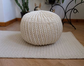 Cotton cord pouf,Bean bag, Pouf, footrest ball Knit, Crochet pouf, Poof, Ottoman, Footstool, Pillow, Floor cushion, Puff, knitted, 47 cm.