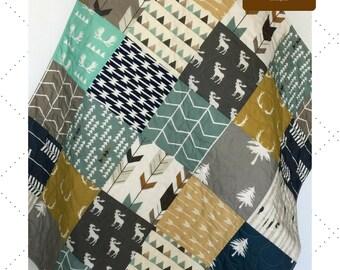 Modern Baby Quilt, Woodland Crib Bedding, Woodland Crib Quilt, Navy and Mustard Quilt, Crib Bedding Boy, Baby Bedding Woodland, The Lodge