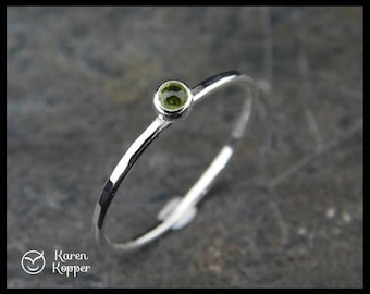 Peridot Skinny sterling silver ring, hammered, 1.2 mm ring, made at your size. Skinny ring, thin ring, stacking ring. August birthstone