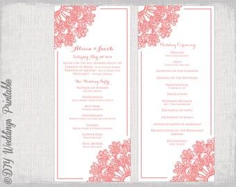 "Wedding program template Coral wedding program DIY ""Lace Doily"" printable wedding program in coral -Editable instant download"