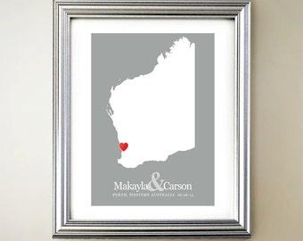 Western Australia Custom Vertical Heart Map Art - Personalized names, wedding gift, engagement, anniversary date