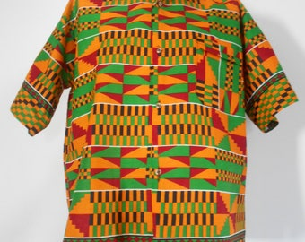 "Shirt sleeves short man wax ""kente"" pattern"
