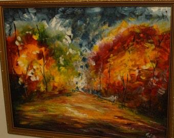 TejasMagic Colours Presents - Autumn Night / Original Acrylic painting on canvas/ Modern contemporary/Fine Arts