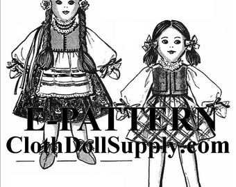 E-Pattern – Rosa & Mary Jane Cloth Doll Sewing Pattern #EP 52