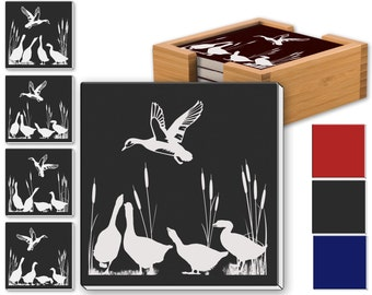 Geese Ceramic Coaster 4/Set w/ Bamboo Holder