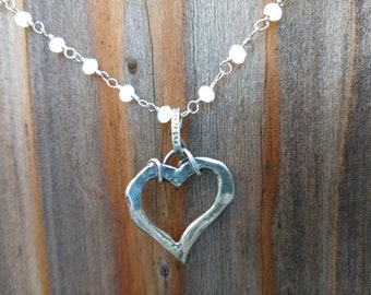 Sterling Silver Heart on White Beaded Silver Chain