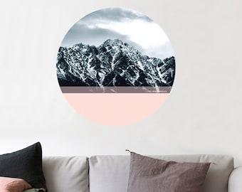 The Remarkables Mountain Range, New Zealand. Walldot art decal (15cm x 15cm or 40cm x 40cm)