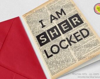 I am Sherlocked Greeting Card-birthday card-4x6 card-funny card-Invitation-custom card-quote card-set of 3 card-blank card-NATURA PICTA