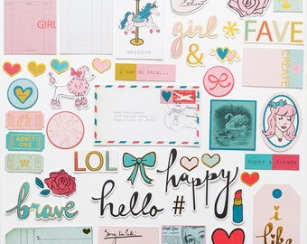 """Gold-foil Die-Cut Ephemera Pack - """"Girly and Strong"""" collection"""