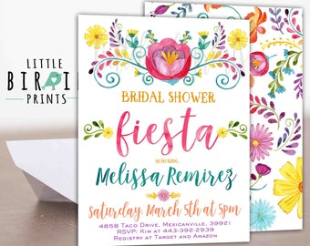 Bridal Shower FIESTA invitation Watercolor Fiesta Invitation Fiesta flowers invitation Bridal shower invitation Flowers Cinco De Mayo