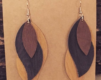 Woodgrain Faux Leather Earrings, Dangle Earrings, Faux Leather, Woodgrain Earrings