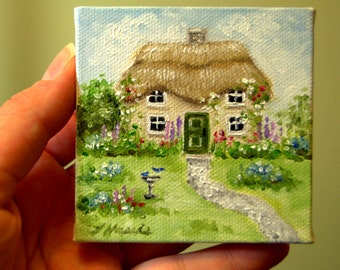 CUSTOM Irish Thatched Roof Cottage with Bird Bath Painting in Oil by LARA aceo 3x3 Mini Tiny House