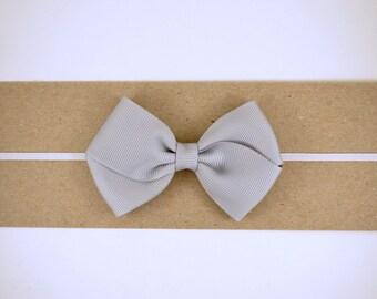 Grey Grosgrain Bow Headband - Baby Headband - Toddler Headband - Adult Headband
