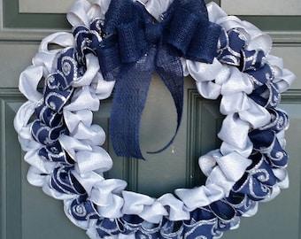 Winter Wreath, Navy Wreath, Silver Wreath, Scroll Wreath, Silver Blue Wreath, Outdoor Wreath, January Wreath, Elegant Wreath, Snow Wreath