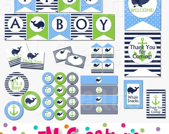 Whale Baby Shower Decorations - Whale Party Package Navy Blue Green - Nautical Banner Cupcake Toppers - Digital Package - INSTANT DOWNLOAD