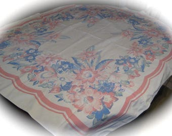 Vintage Tablecloth /  Pink  and Blue Floral / Cotton Tablecloth / Retro Linens / Kitcken Linens
