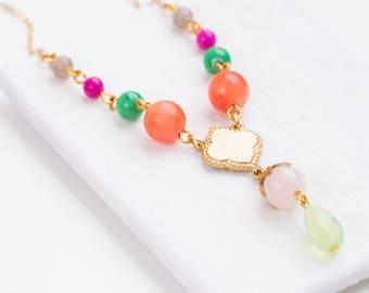 Bead necklace Multicolor bead necklace  Colorful necklace  Beaded necklace Coral necklace Bead chain  Gemstone necklace  Statement necklace