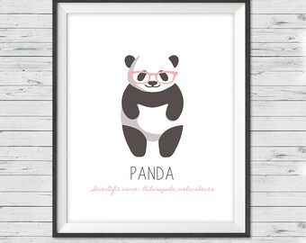 "Panda nursery art, Instant download, 8x10"", Panda nursery wall art, Modern nursery art, Black and white nursery art, Panda nursery"