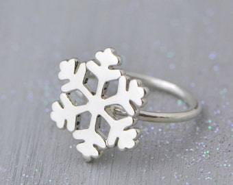 Snowflake Ring, Sterling Silver Snowflake Jewelry, Winter Jewelry, Sterling Snowflake Ring, Christmas Gift, , Gift For Her