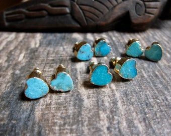 Turquoise Stud Earrings Gold,Turquoise Earrings Gold,Turquoise Studs Heart,Turquoise Studs,Heart Earrings Gold,Turquoise Jewelry,Heart Studs