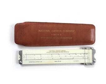 Vintage Pickett  Eckel Pocket Slide Rule No 200 w Leather Case 1949  National Carbon Company Div of Union Carbide