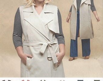 Womens Princess Seam Knit Top, Wrap Trench Coat or Vest and Pants Simplicity Sewing Pattern 8303 Size 18 20 22 24 Bust 40 42 44 46 FF