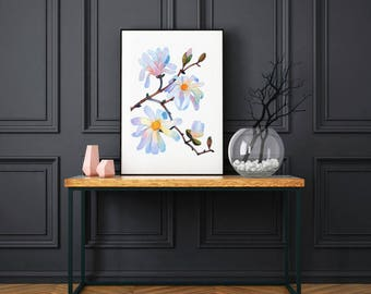 Magnolia Art Print, Magnolia Poster, Botanical Print, Magnolia Wall Art, Flower Print, Botanical Wall Art, Magnolia Painting, Flower Picture