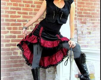 Steampunk Pirate Skirt Halloween ~ Bustle Skirt Black w/ Red Ruffles Black Lace ~ Victorian Gothic Vampire Burlesque ~ Renaissance Festival