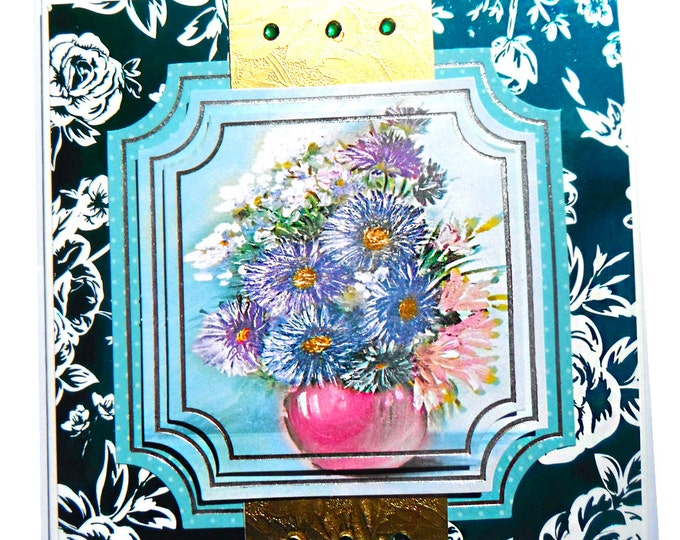 Blue Daisies in a Pink Vase, 3D Decoupage, Birthday Card, Greeting Card, Any Occasion  Floral, Female, Dark Green and Silver, Any Age