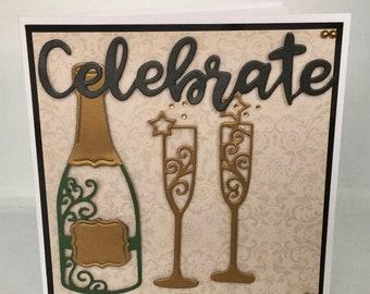 Handmade die cut 'Celebrate' card