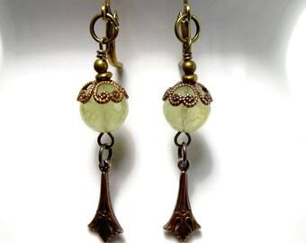 Prehnite Earrings, Dangle Earrings, Art Deco Green Earrings, Prehnite Jewelry, Boho