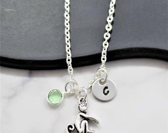 Monkey Necklace - Personalized Monkey Jewelry - Monkey Birthday Gift - Silver Monkey Charm - Monkey Necklace for Women