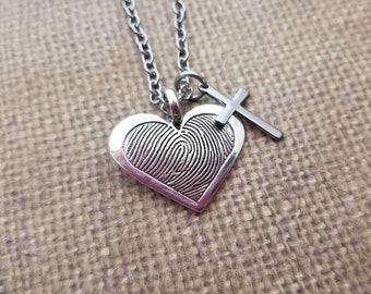 INK-1 LARGE framed heart FINGERPRINT Necklace in solid Fine .999 Silver-includes chain+Cross charm