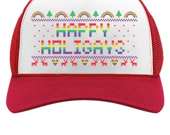 Happy Holigays Rainbow Gay & Lesbian Pride Ugly Christmas Trucker Hat Mesh Cap