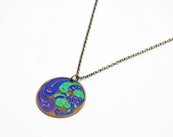 Painted Peacock Necklace in Purple, Blue, Green, and Antique Brass - Brass Peacock Necklace, Peacock Jewelry, Peacock Pendant, Bird Necklace