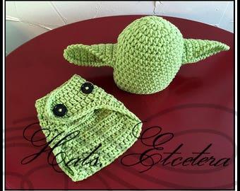 Crochet Yoda Inspired Hat & Diaper Cover Set