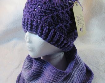 Hand Crochet Hat with Matching Cowl Lavender Purple Ombre Free Shipping