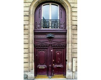 Paris Door Print, Paris Photography, Burgundy Door, Maroon Wall Art, Paris Door Picture for Home Decor, Dark Red Decor, Architecture Photo