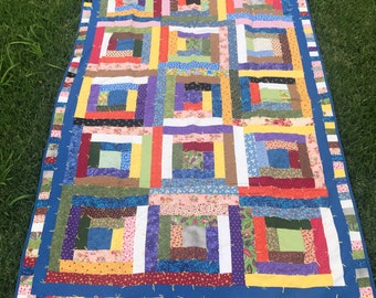 Scrappy Log Cabin Quilt Full Size