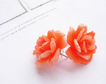 Vintage Coral rose studs, vintage studs, rose post earrings coral orange bridal wedding party gift