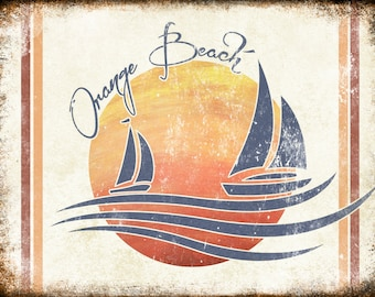 "Orange Beach, Alabama  // Metal Sign // 12"" x 16"""