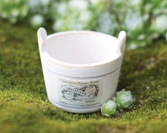 White miniature wooden bucket; shabby chic; Dollhouse; Fairy garden; 1:6 scale