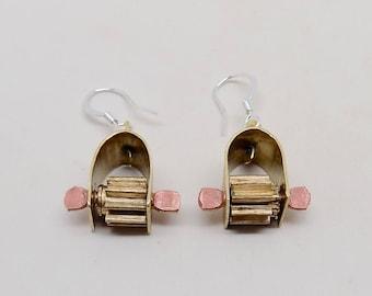 Mixed metal jewelry copper brass earrings. Steampunk jewelry earrings.