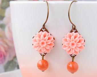 Coral Swarovski Pearl Earrings Vintage Style Coral Earrings Flower Dangle Earrings Pink Coral Pearl Earrings Coral Wedding Gift for her