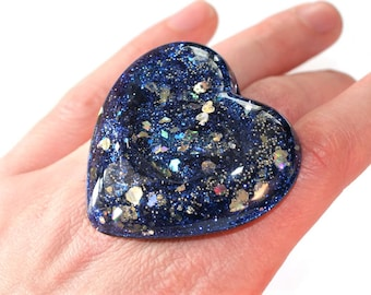 Navy Blue Silver Ring Huge Heart Cosplay Jewelry Unique Funky Statement Space Jewelry
